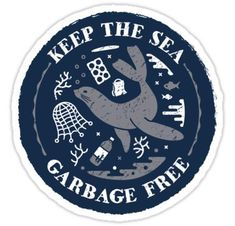 """""""Keep the Sea Garbage Free - Seal"""" Stickers by Bangtees Save Our Earth, Save The Planet, Laptop Stickers, Cute Stickers, Car Bumper Stickers, Save Our Oceans, Tumblr Stickers, Environmental Art, Aesthetic Stickers"""
