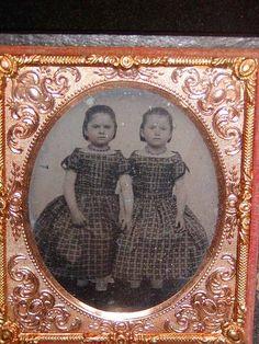 RARE Antique Daguerreotype Photograph in Case of Twin Children Girls | eBay