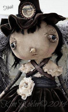 Primitive Doll Heidi Witch OOAK Fabric Cloth Standing Hand Made Goth Gothic Original Kim Kohler