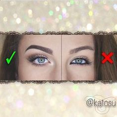 To make your eyes look BIGGER, use highlighters and shadows to make them pop. DO NOT USE BLACK EYELINER. It will make your eyes look smaller as seen on the right side.