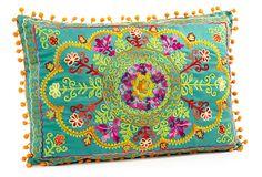 Botanical 14x20 Cotton Pillow, Teal ($78.00)  $39.00 OneKingsLane.com