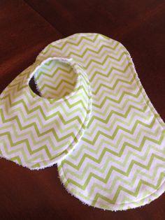 Popular Chevron striped bib & burp cloth set by DazzlingCinsations, $12.00