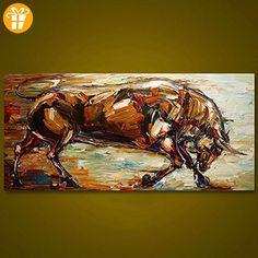 wetercos (TM) Starke gerahmt Bull handbemalt Ölgemälde Art Wand Leinwand Moderne abstrakte Malerei Home Decor für Wohnzimmer Artwork, 75X160CM - Fidget spinner (*Partner-Link)