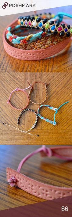 Beach Bracelet Assortment Set of 4 bracelets (blue cloth, brown leather, pink leather, & beaded) that go really well together! All ties are intact & can be readjusted. Worn once delia*s Jewelry Bracelets