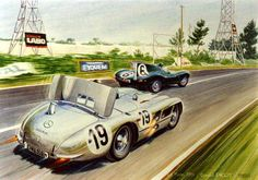 LM 1955 ♦ Artistic rendering of the two car models that would become infamous and their manufacturers fierce opponents in a post-catatsprophe P.R. fight: the Jaguar D-type (Hawthorn), ahead, and the M-B 300SLR (Fangio's #19 here, with air brake open).