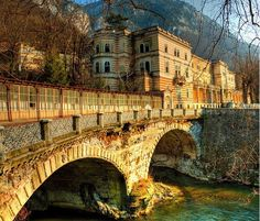 Bridge crossing Cerna river in Baile Herculane thermal spa resort, Romania. Beautiful Places To Visit, Wonderful Places, Beautiful World, Places To See, Visit Romania, Travel Around Europe, Tourist Places, Future Travel, Travel Abroad