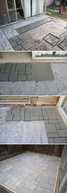 Cement Patio that looks like cement brick pavers using cement and molds.