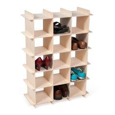 15 Cubby Shoe Shelf in Baltic Birch, shoes in cubbies