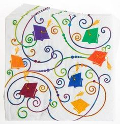 Congratulations Graduate Graduation Napkins 24 Count 5 Inch Dessert.  These dessert napkins look great with any solid color cups & plates.