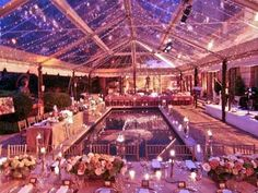 clear wedding tent + twinkle lights