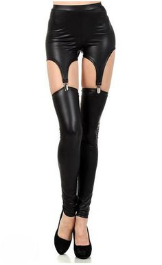 Solid Black Sexy Ripped Novelty Leggings