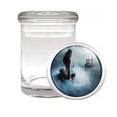 "Mermaid D3 Medical Glass Jar 3"" X 2"" Herb & Spices Aquatic Creature Fantasy Folklore"