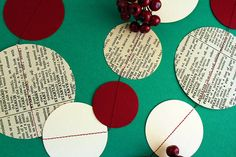 Red Ivory & Vintage Paper Garland 3m or 6m by ALittleBitOfLemon