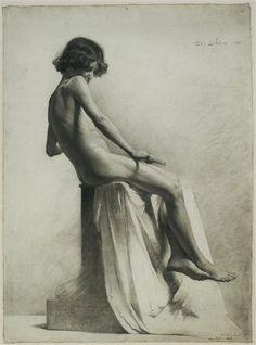 Academic Nudes of the 19th Century: Paul Abel Lefebvre (1859 - ?) Etude de Jeune Homme
