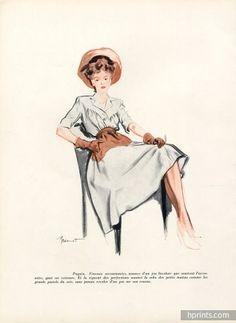 Paquin 1943 Brénot Fashion Prints, Fashion Art, Fashion Models, 1940s Fashion, French Fashion, Jeanne Paquin, Military Looks, Tiny Waist, Historical Clothing