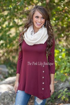 The Pink Lily Boutique - A Burgundy Side Button Tunic , $34.00 (http://thepinklilyboutique.com/a-burgundy-side-button-tunic/)