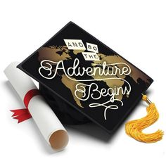 And so the Adventure Begins Grad Cap - Graduation Cap Decoration Ideas. Customize your own grad cap. Grad cap decorating kits by Tassel Toppers that last forever as the perfect graduation gift Graduation Cap Tassel, Graduation Cap Toppers, Graduation Cap Designs, Graduation Cap Decoration, Graduation Diy, Graduation Pictures, Graduation Quotes, Preschool Graduation, Graduation Announcements