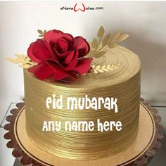 Write name on Rose Flower Eid Cake with Name with Name And Wishes Images and create free Online And Wishes Images with name online. - Happy Eid Mubarak Wishes  IMAGES, GIF, ANIMATED GIF, WALLPAPER, STICKER FOR WHATSAPP & FACEBOOK