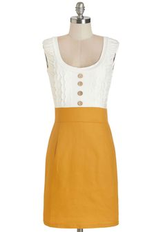 Come in Dandy Dress in Mustard | Mod Retro Vintage Dresses | ModCloth.com