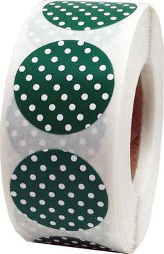 Green Stickers with White Polka Dots  0.75 Inch by TheDotSpotLane