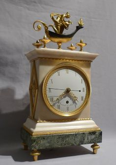 "A superb quality and rare antique GeorgeIII/English Regency neo-classical mantel clock by Thomas Weekes but signed as a conceit "" Semaine a Paris"". Circa 1800."