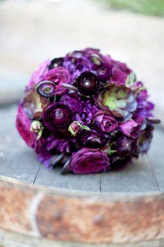 Pretty Purple + Grey Winery Wedding bouquet
