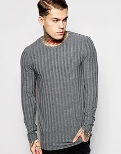 ASOS Longline Long Sleeve T-Shirt In muscle Fit With Raw Edge In Stretch Rib