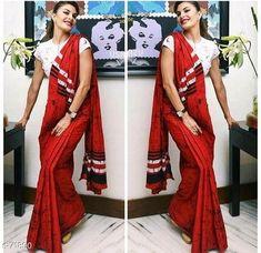 Blouse Designs High Neck, Cotton Saree Blouse Designs, Silk Cotton Sarees, Designer Blouses Online, Online Shopping Sarees, Bandhani Saree, Ikkat Saree, Elegant Fashion Wear, Trendy Sarees