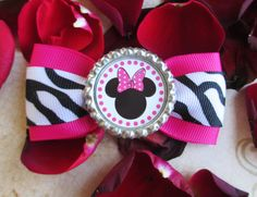 Minnie Mouse hair bow Disney hair clip Pink Princess headband cute holiday vacation girls zebra print bottle cap