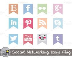Check out Social Media Flag Icons (Colorful) on Creative Market