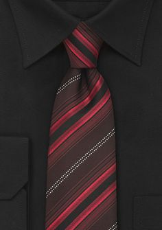 Mens Designer Tie in Red and Maroon - A stunning striped silk tie in maroon, bright red, black, and silver. Necktie designer Cavallieri created a modern design in classy color Mode Costume, Tie Shop, Designer Ties, Blue And Copper, Shades Of Red, Red Stripes, Silk Ties, Modern Design, Neckties