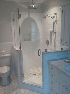 Frameless shower doors - traditional - bathroom - charleston - Lowcountry Glass & Shower Door LLC corner shower for small bathroom Small Bathroom With Shower, Master Bathroom Shower, Attic Bathroom, Dyi Bathroom, Bathroom Mirrors, Basement Bathroom, Bathroom Cabinets, Bathroom Storage, Small Master Bathroom Ideas