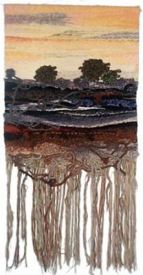 paisaje 3 tapiz de gobelino lana  fibras naturales,algodón  gobelino,técicas mixtas
