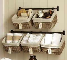 Hang baskets on towel bars to take advantage of unused wall space. Description from pinterest.com. I searched for this on bing.com/images