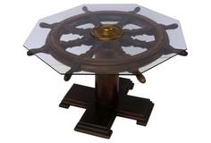 Check out this item at One Kings Lane! Ship Wheel, Coffee Cocktails, Table Cards, Beach Cottages, Cocktail Tables, Poker Table, Dining Table, Diy Projects, English