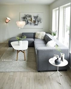 Scandi livingroom decor by @ interiorwife feat. our Carmo sofa in felt - just…