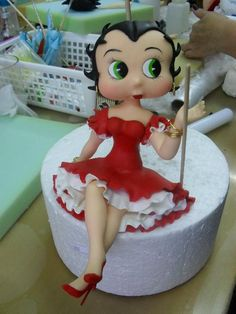 Betty Boop in an adorable red & white dress #clay #cake #toppers by Wilson Cabral