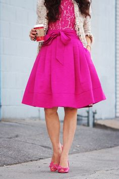 HallieDaily: Pink Dress with Bow + Tweed Jacket = Girly Style