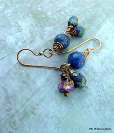 Moonstruck Earrings Royal Lapis Cobalt Blue Gold by pileofstones