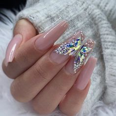 In seek out some nail designs and some ideas for your nails? Here's our set of must-try coffin acrylic nails for modern women. Bling Nails, Swag Nails, My Nails, Rhinestone Nails, Bling Nail Art, Rhinestone Nail Designs, Jewel Nails, Vegas Nails, Grow Nails