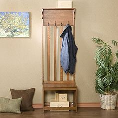Harper Blvd Mission Oak Hall Tree Entry Bench -- Awesome products selected by Anna Churchill