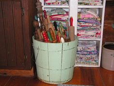 Rolling Pin collection in old chippy paint wood bucket. Vintage apron and linen collection in the background. Cookie Jars, Cookie Cutters, Churning Butter, Vintage Apron, Rolling Pins, Kitchen Utensils, Diy Projects To Try, Buckets, Vintage Kitchen