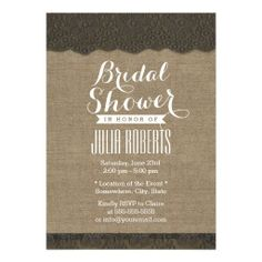 Dark Lace Rustic Burlap Bridal Shower Custom Invitation