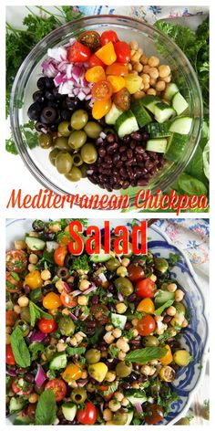 MEDITERRANEAN CHICKPEA SALAD RECIPE Soooo easy to make, Mediterranean Chickpea Salad is fresh and full of vibrant flavors! My copy cat version of Trader Joe's famous Balela Salad recipe, this one has olives for an added briny punch. Mediterranean Chickpea Salad, Mediterranean Diet Recipes, Mediterranean Dishes, Greek Chickpea Salad, Chickpea Salad Recipes, Healthy Salad Recipes, Vegetarian Recipes, Simple Salad Recipes, Balela Salad Recipe