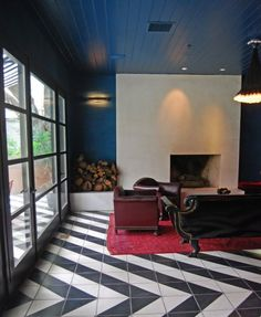 Striking flooring in the Hotel St. Cecelia in Austin, Texas