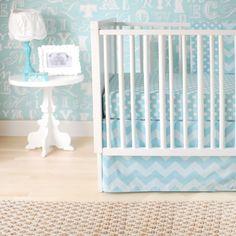 New Arrivals Inc. Chevron Zig Zag Baby Aqua Crib Bedding Set available at TinyTotties.com