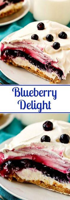 Blueberry Delight Blueberry Delight (Blueberry Yum Yum)- 4 layers in this creamy dessert! Delight Blueberry Delight (Blueberry Yum Yum)- 4 layers in this creamy dessert!Blueberry Delight (Blueberry Yum Yum)- 4 layers in this creamy dessert! Brownie Desserts, Oreo Dessert, Mini Desserts, Low Carb Dessert, Easy Desserts, Dessert Recipes, Blueberry Yum Yum, Blueberry Delight, Blueberry Desserts