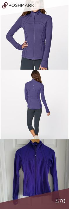 Lululemon Purple Define Jacket Beautiful Lululemon define jacket in great condition. Vibrant purple color, the only wear on the jacket is the zipper pulls as shown, just some chipped paint, other than that, very good! Size 4 lululemon athletica Jackets & Coats