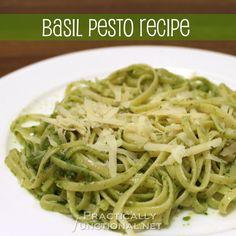 10 Minute Homemade Basil Pesto Recipe from PracticallyFunctional.net
