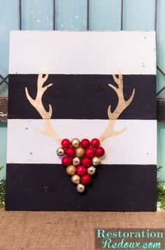 DIY Stenciled Antler Ornament Art using Christmas Stencils from Royal Design Studio (Jennifer Rizzo Collection) via restorationredoux